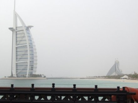 View of Burj Al Arab and Jumeirah Beach Hotel Dubai 2008
