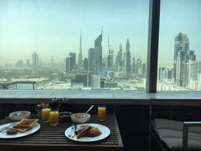 Breakfast view at Jumeriah World Trade Residence 2017